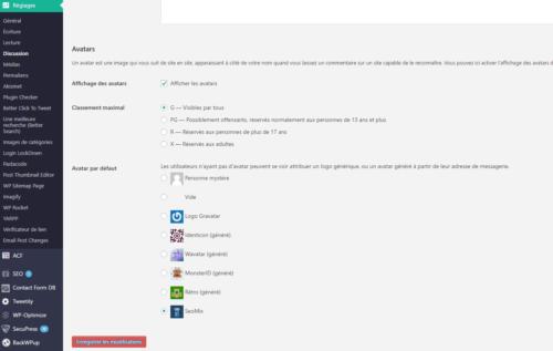 réglages à faire pour mettre Gravatar sur WordPress.
