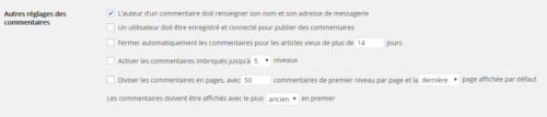 réglages à faire sur les commentaires de wordpress