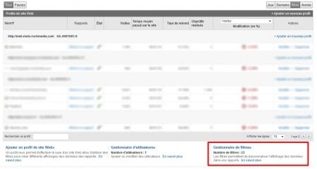 Gestionnaire de filtres de Google Analytics
