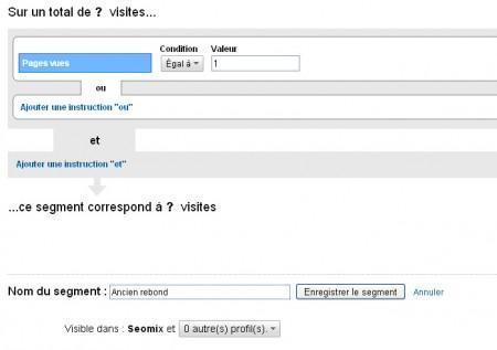 Créez un segment avec Pages Vues = 1