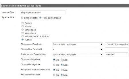 Filtre pour grouper les webmails de Google Analytics
