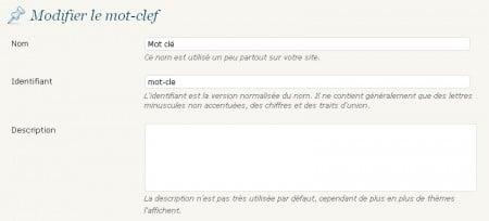 Modifiez la description de vos mots clefs WordPress