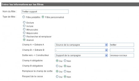 Filtre Google Analytics pour classer le support Réseaux sociaux