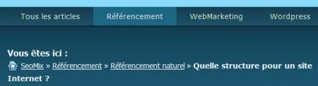 Fil d'Ariane et menu en couleur pour l'ergonomie web
