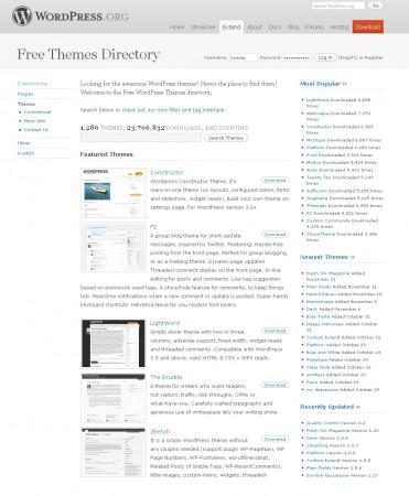 thèmes gratuits pour le CMS WordPress