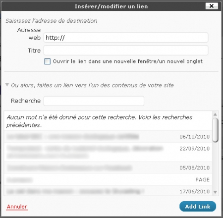 WordPress 3.1 insertion d'un lien
