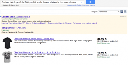 Une description produit sur Google Shopping