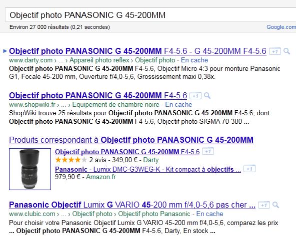Les rich snippets de Google Products b8b3503594bb