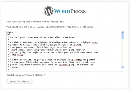 Installation de WordPress et fichier wp-config.php