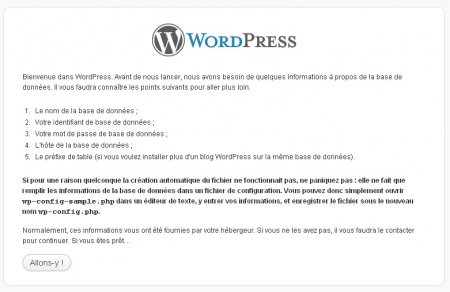 WordPress menu d'installation