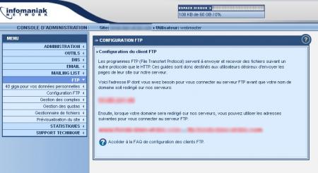 Adresse du serveur FTP sur Infomaniak
