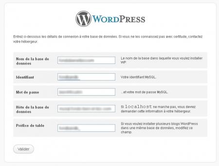 Configuration de la base de données de WordPress