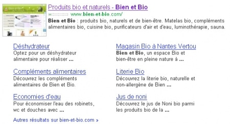 Sitelinks Google