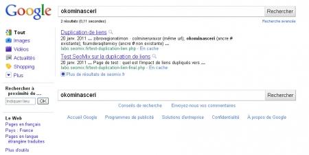 Test SEO sur la duplication des liens dans Google