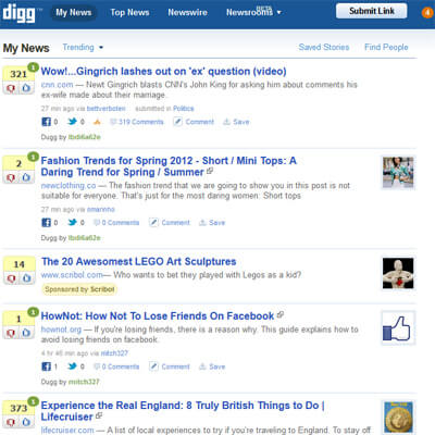 Un exemple de Digglike, avec Digg