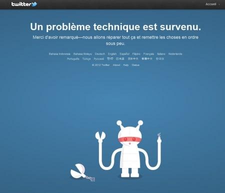 Page d'erreur de Twitter
