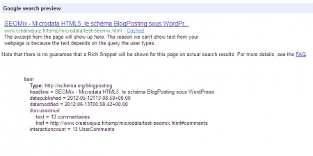 Prévisualisation d'un article de blog dans Google
