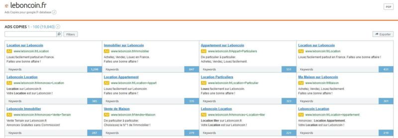 liste des annonces payantes leboncoin.fr