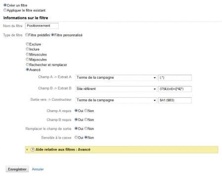 Filtre sur le positionnement des mots clés dans Google Analytics