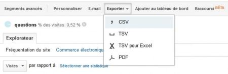 Export des données de Google Analytics au format CSV