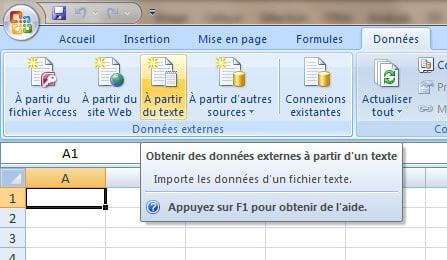 Import des données dans Excel