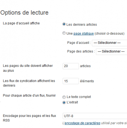 Menu lecture et page statique de WordPress