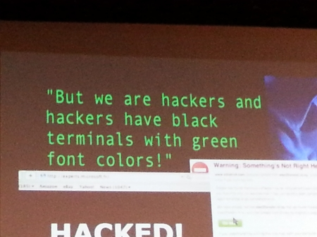 Hackers have black terminals with Green Font Colors