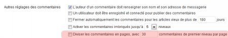Administration de WordPress : pages de commentaires