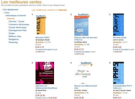 Top des ventes de livres Internet sur Amazon