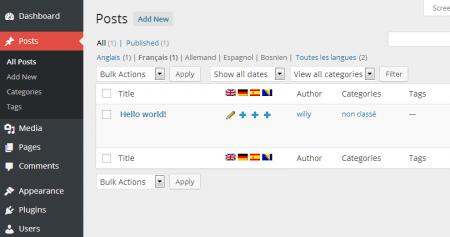 liste d'article WPML