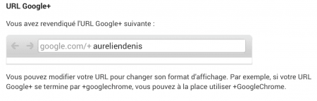 Modification de l'URL du profil Google+