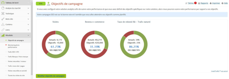 Objectif d'une campagne Analytics SEO