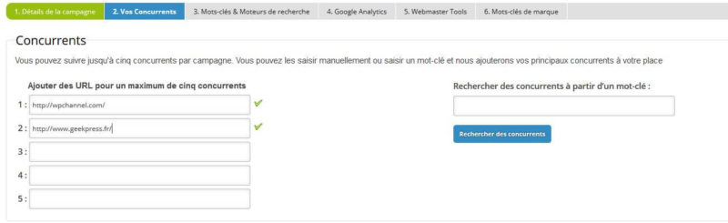 Ajout des concurrents Analytics SEO