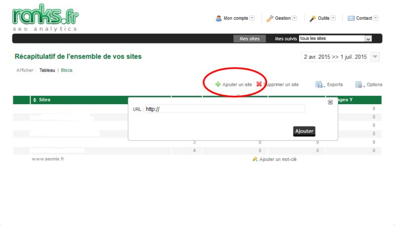 Ajouter URL d'un site Ranks