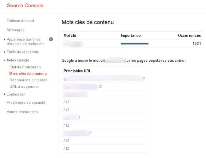 occurences mot clé de contenu google search console