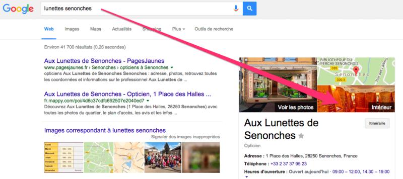 La visite virtuelle s'affiche dans Google