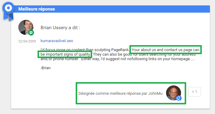 Réponse de Google sur la qualité