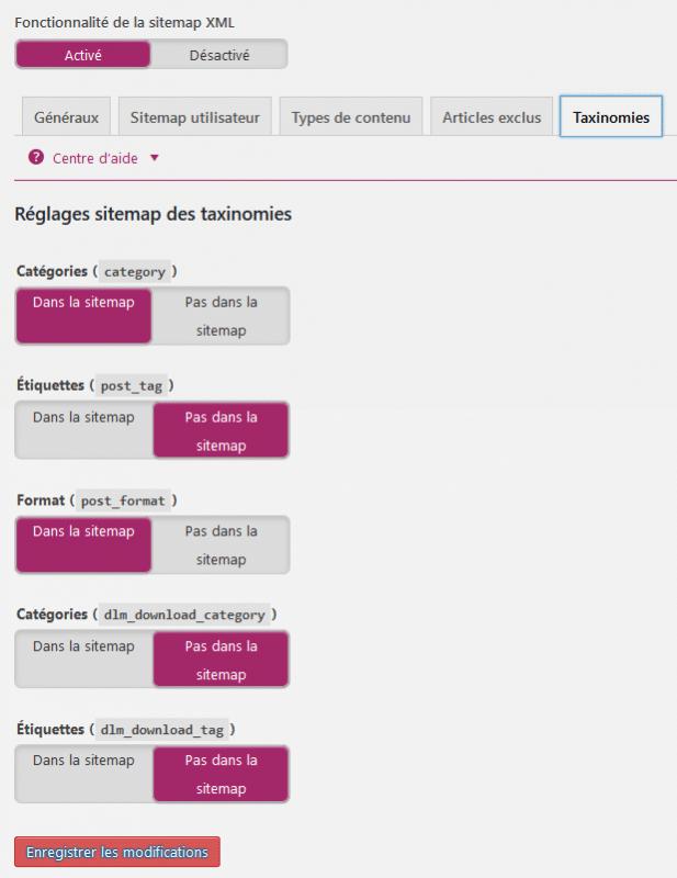 Réglages du sitemap des taxonomies Yoast