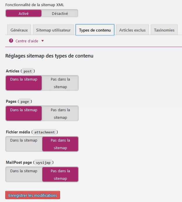 Réglages du sitemap des types de contenu Yoast