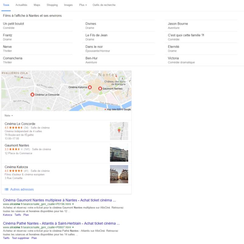 Page de résultats Google avec peu d'entrées SEO.