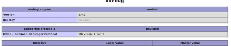 Configuration Xdebug activée