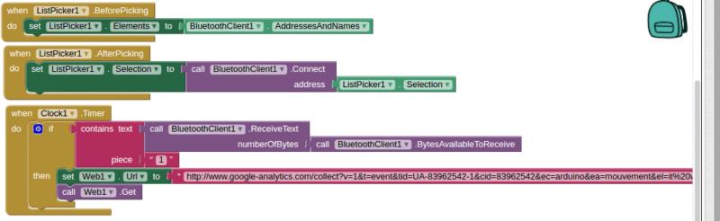Le code Analytics et Arduino