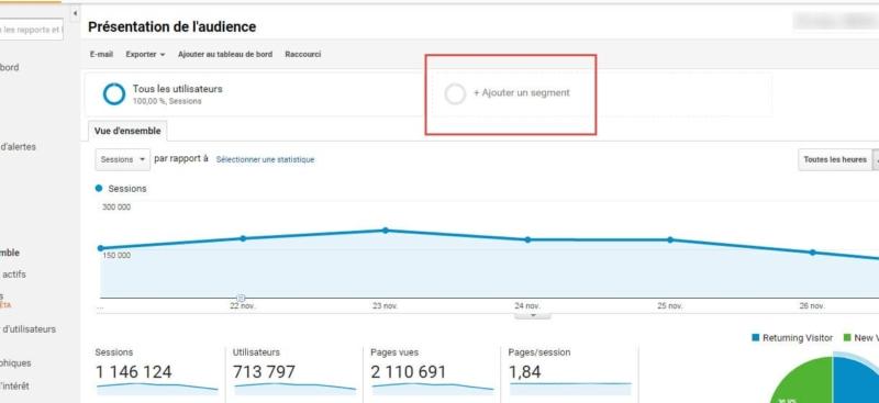 Capture d'écran Ajouter un segment dans Google Analytics
