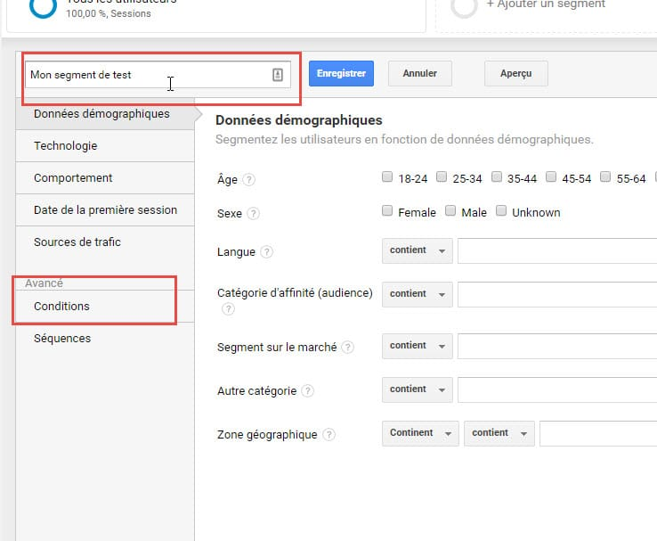 Capture d'écran Nommer un segment dans Google Analytics