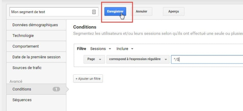 Capture d'écran Enregistrer un segment dans Google Analytics