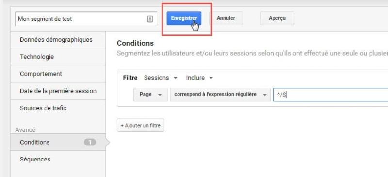 Capture d'écran Enregistrer un segment dans Google Analytics