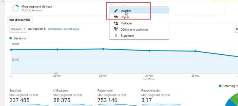 Capture d'écran Modifier un segment dans Google Analytics