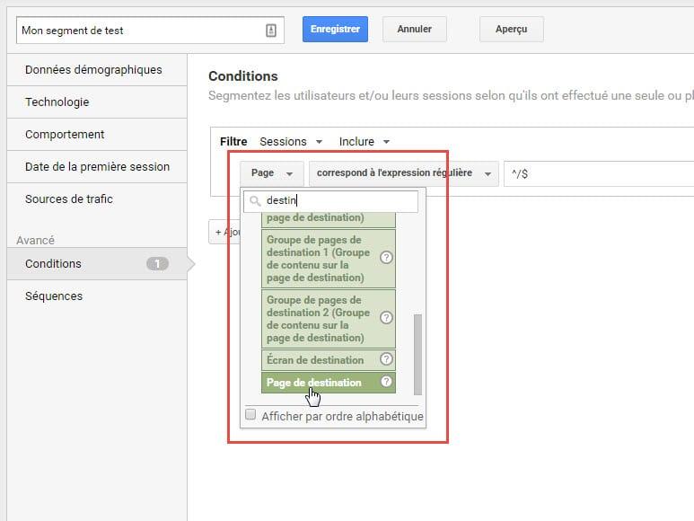 Capture d'écran Choisir une dimension dans Google Analytics