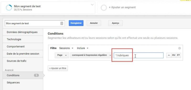 Capture d'écran Isoler les pages d'accueil de rubriques