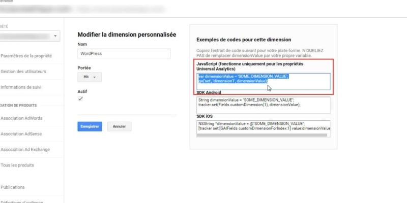 Capture d'écran Code de suivi dans Google Analytics